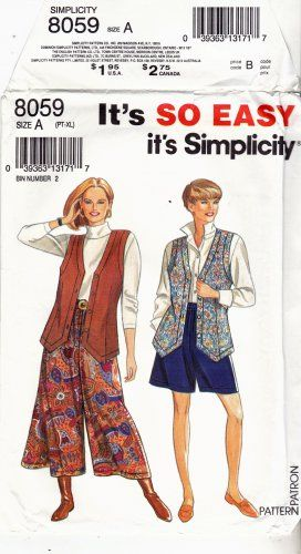 """When I was a girl we called these pants """"gauchos."""" These days they're usually called culottes or split skirts. Simplicity 8059 Uncut Long Shaped Hem Vest Split Skirt Culottes all sizes"""