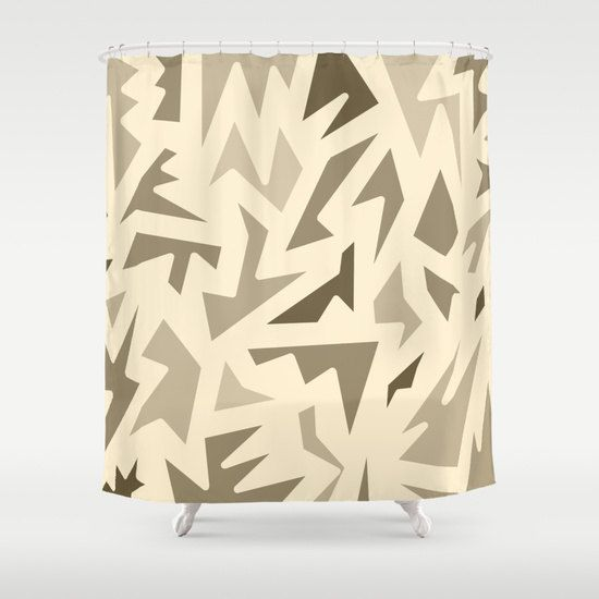 Brown Shower Curtain - Abstract Design Brown Zig Zag - Bathroom Decor - Made to Order by ShelleysCrochetOle on Etsy