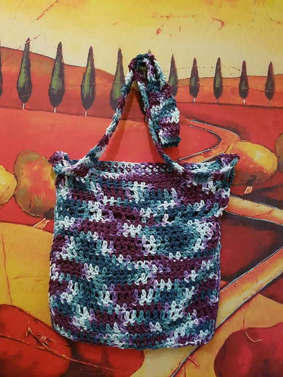Reusable Crochet Mesh Shopper Tote Bag  Grocery Bag  Library