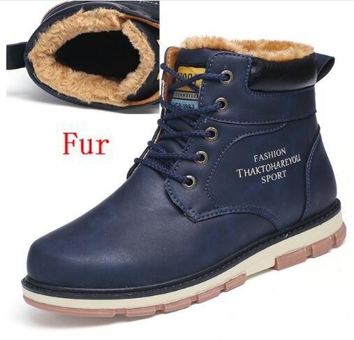 Супер Теплый Для мужчин зимние PU кожаные ботильоны Для мужчин Осенняя водонепроницаемая одежда Снегоступы досуг Мартин осенние ботинки Для мужчин S Обувь M437 купить на AliExpress