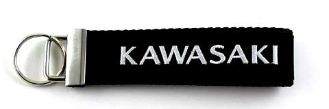 KAWASAKI Embroidered Biker Key Fob $10.00, $5.00 shipping! 5-1/2 inches, not including the ring. The key fob hardware is 1-1/4 inches wide.