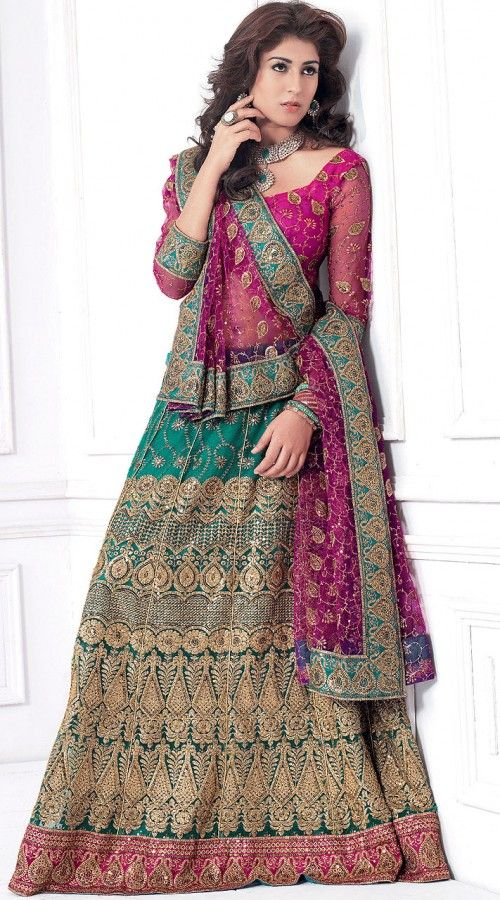 Beautiful Pink And Green Soft Net With Sequin Embroidery Wedding Lehenga