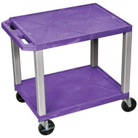 H. Wilson Tuffy 2-Shelf A/V Cart with Electric, Purple Shelves and Nickel Legs