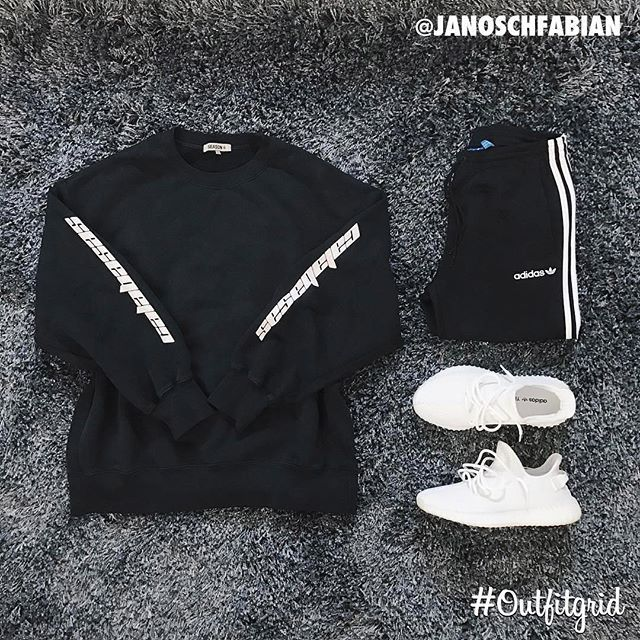 WEBSTA @ outfitgrid - Today's top #outfitgrid is by @janoschfabian.▫️ #Calabasas #Crewneck▫️ #Adidas #TrackPants▫️ #YeezyBoost350v2 #Cream