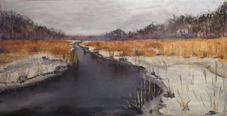 """""""Valley of the river Narewka"""" painter Marko Sapiolko oil painting on canvas 50x100cm"""