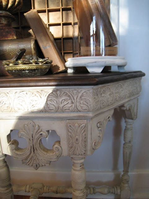 Annie Sloan Chalk Paint -- 1/2 Coco and 1/2 Old White, then dry brushed with a little Old White. Clear wax, 2 coats.