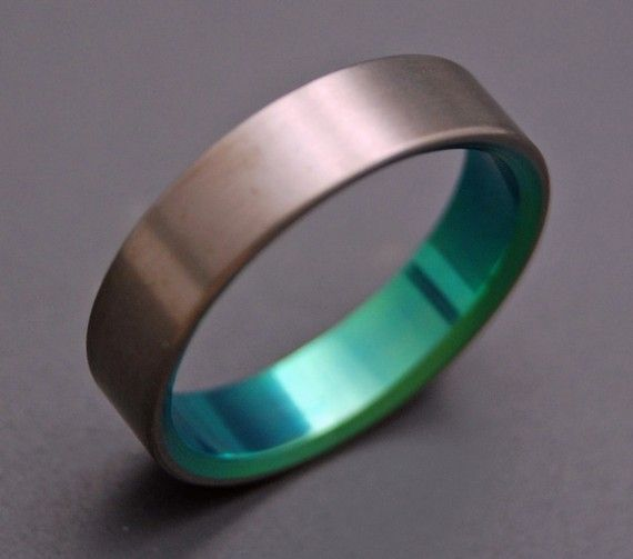 Wedding band with color