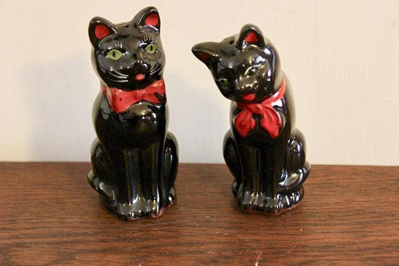 Vintage Black Cats with Red Ears and Green Eyes Salt and Pepper Shaker Set