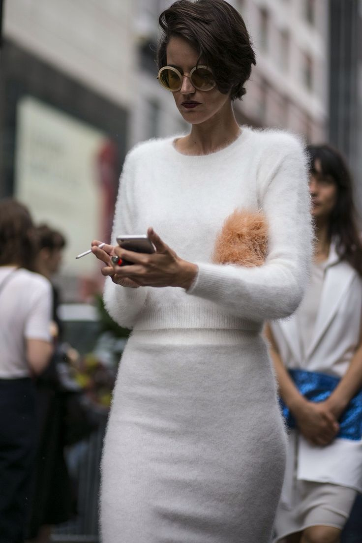 Fine knit white angora sweater, ideally with a scoop neck