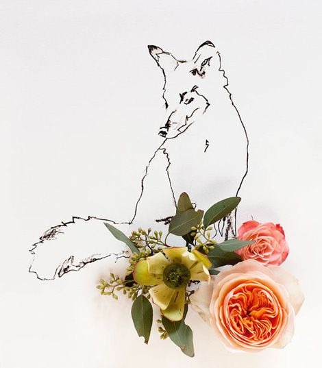 foxy flora: Inspiration, 9887 Fox, Illustration, Art, Color Palette, Foxes, Flowers, Kariherer, Could World
