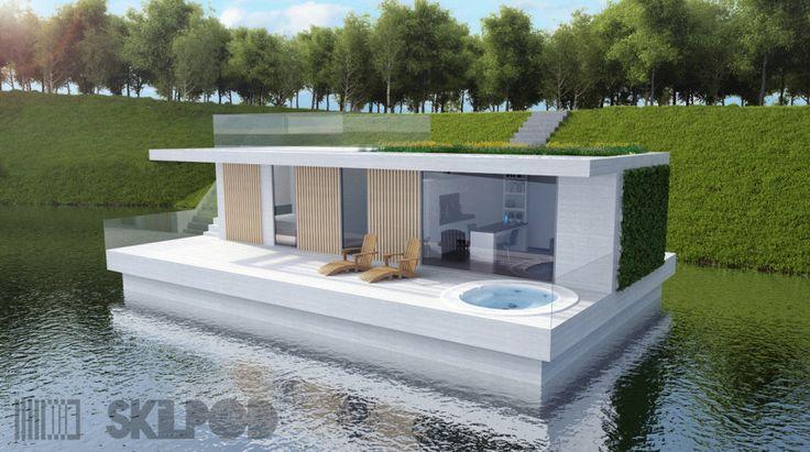 Drijvende verplaatsbare woning van Skilpod.