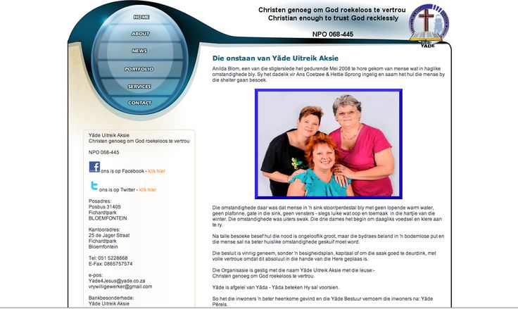 A screen shot of the Yade website - this was back in the day when we did mainly html sites.    Since 2011 we recommend CMS sites, as it save the client loads of money.    We specialize in Drupal sites, but can do Wordpress and others too.    The Yade website is now managed by another company/person : http://yade.co.za/