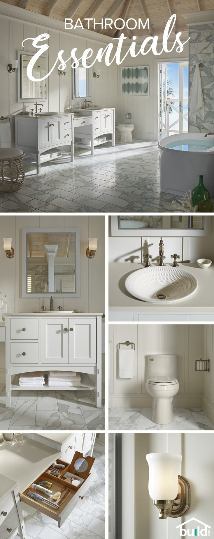 Find everything you need for the perfect bathroom makeover. From faucets, sinks, and toilets, to organization and lighting, we've got you covered.