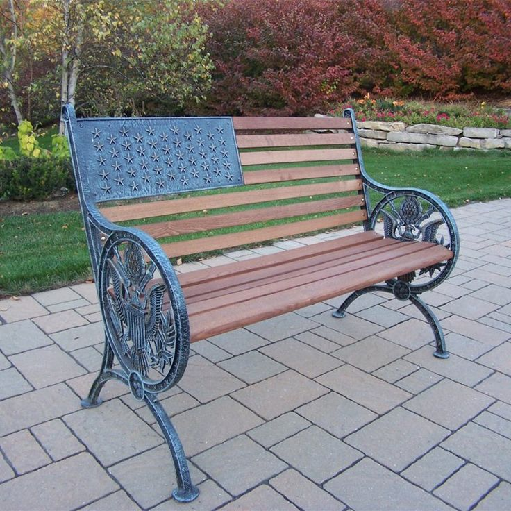 Outdoor Oakland Living Proud American Old Glory Flag Cast Iron and Wood Bench - 6011-2-AV