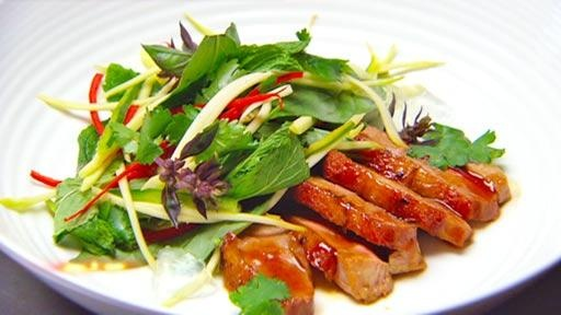 Sweet spiced duck with summer Asian salad and coconut jelly