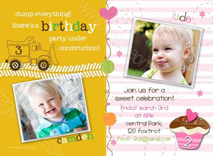 24 best birthday invitation card sample images on pinterest construction dump trucks and cupcakes printable twins or combined birthday party invitation digital card design for your boy and girl stopboris Gallery