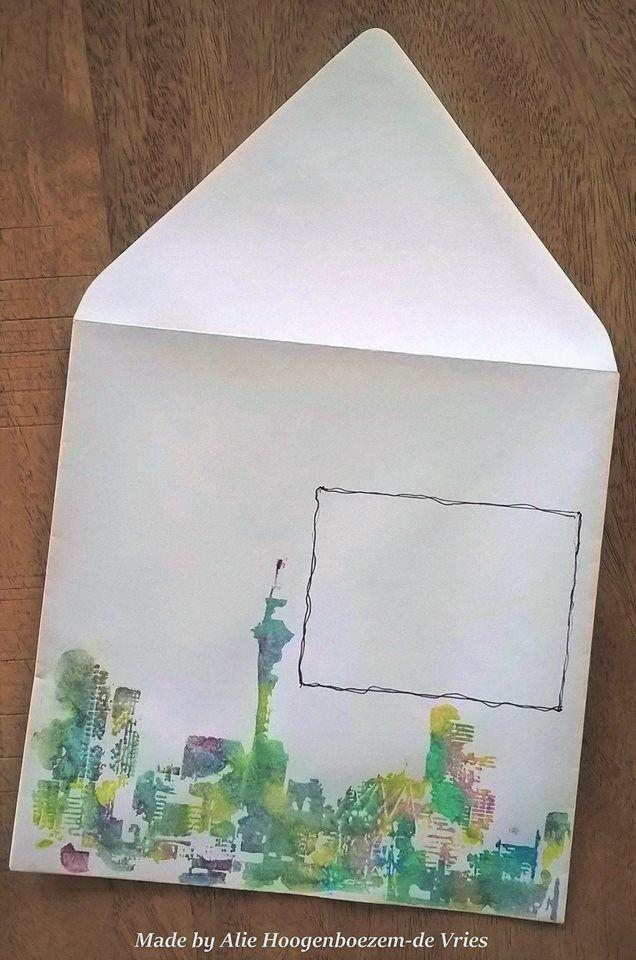 Altered envelope - Mail Art, made by Alie Hoogenboezem-de Vries