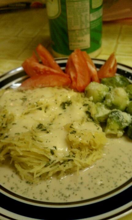 Italian coconut milk sause on spaghetti squash with parm.veggies