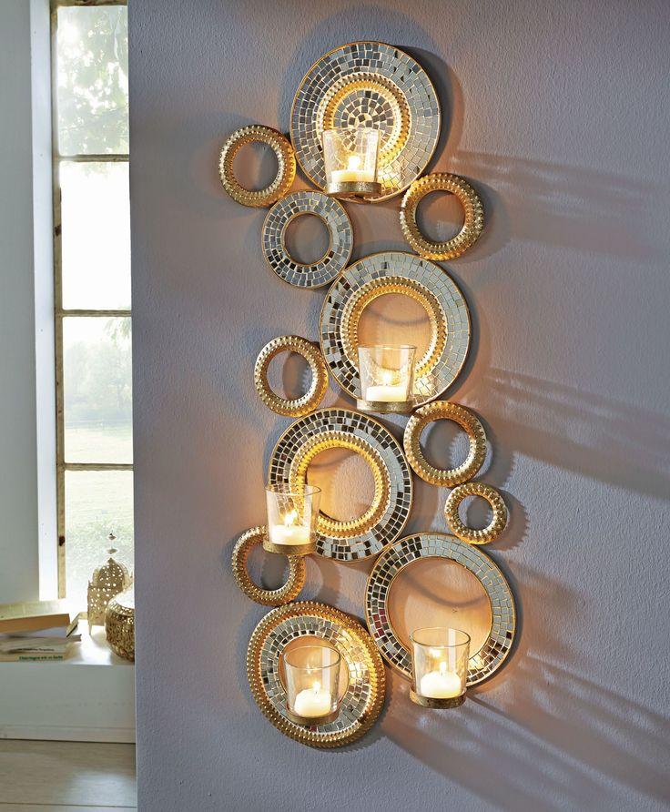 New Wandteelichthalter Circle Glasmosaik Metall Glas ca H cm Teelichthalter