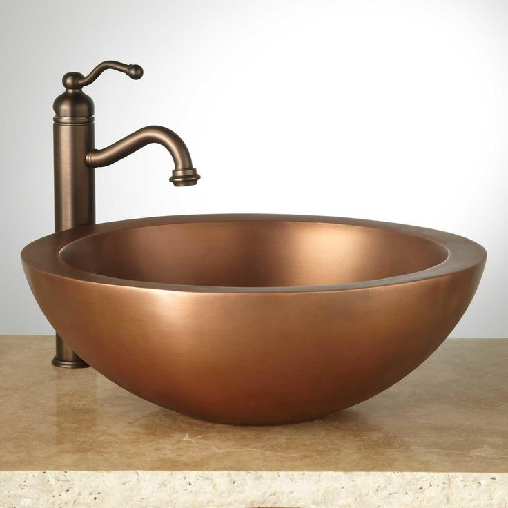 copper vessel sinks sink bathroom small drop in lowes with storage