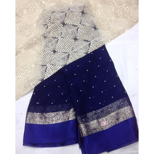 """""""Very limited stock chiffon saree with pearl work all over the saree with heavy…"""