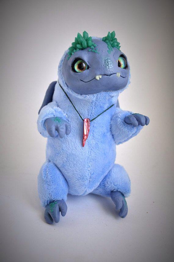 FANTASY PLUSH ANIMAL Crystal Dragon Creature Ooak by FoxyMocksy