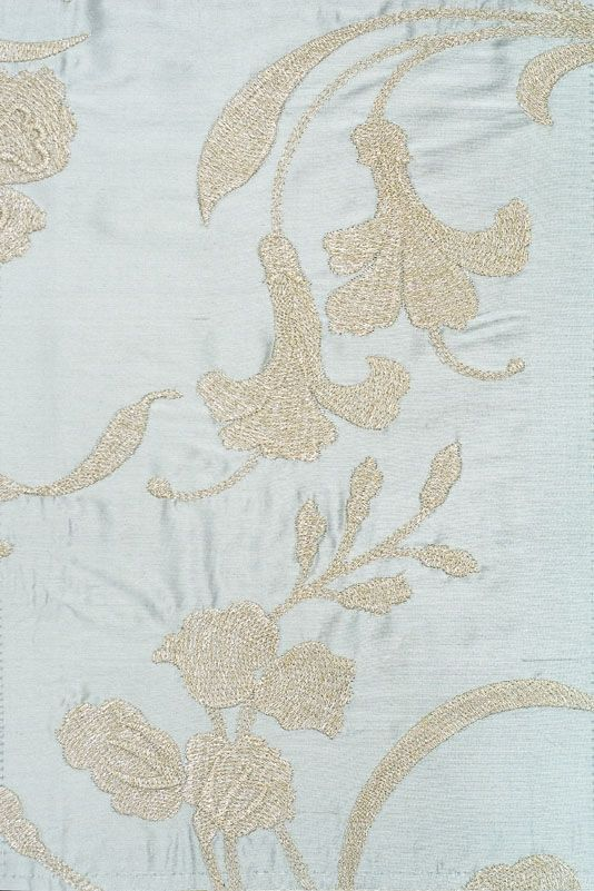 $193 Cordonnet Embroidered Curtain Fabric A dusky aqua silk fabric with a beautifully embroidered floral design in silver thread.