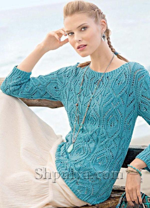 Бирюзовый пуловер с ажурным узором