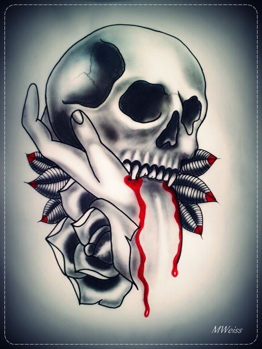 vampire skull and bleeding hand tattoo flash by oldSkullLovebyMW.deviantart.com