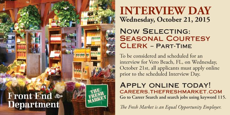 TFM has Seasonal Courtesy Clerk Jobs for their Vero Beach, FL - courtesy clerk