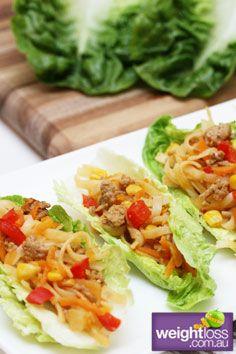 Healthy Entertaining Recipes: Thai Chilli Pork Lettuce Cups. #HealthyRecipes #DietRecipes #WeightlossRecipes weightloss.com.au