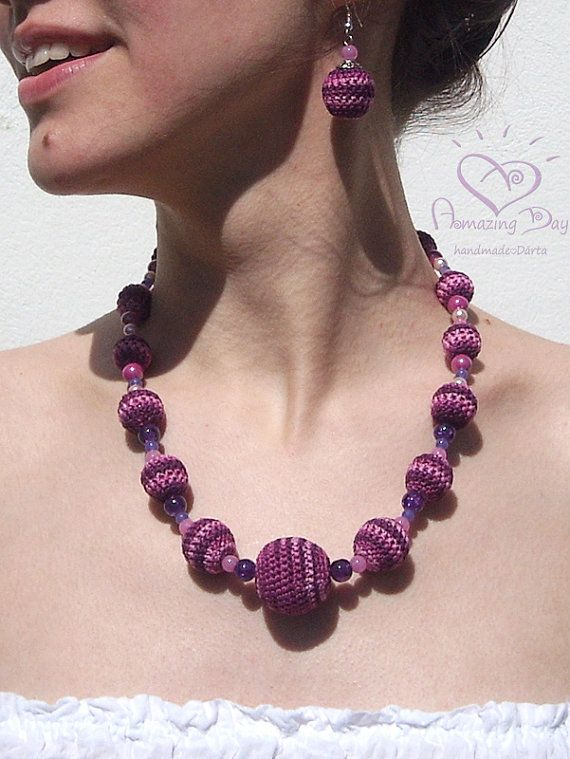 Purple Crochet NECKLACE. Violet bubble Necklace. Lilac Striped Contemporary crochet ball Necklace. Trendy Summer Necklace Lavender Necklace