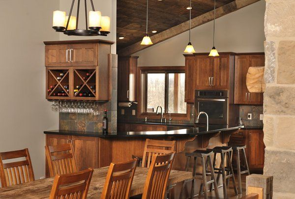 country style kitchen hickory cabinets kitchen pendant lights wood dining table