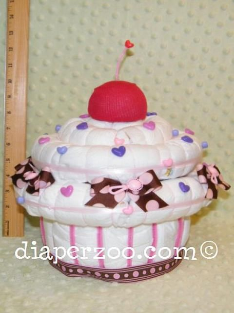 Instructions how to make a giant Diaper Cupcake Musical Jewelry Box. Diaper