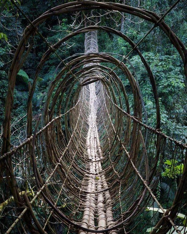 Hanging bridge in Boleng, Arunachal Pradesh, India