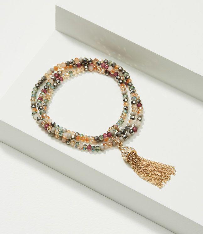 Tasseled Beaded Stretch Bracelet Set