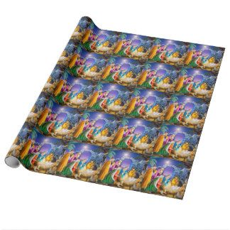 Religious nativity christmas holiday wrapping paper