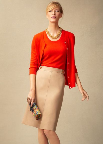 classic red cardigan set and khaki skirt