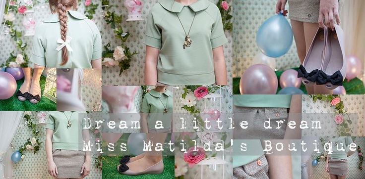 Pretty clothes, Melissa shoes and vintage inspired accessories from our online boutique. Miss Matilda's is an online ladies fashion retailer in the UK. Featuring a gorgeous, mint green, peter pan collar blouse and Melissa shoes.