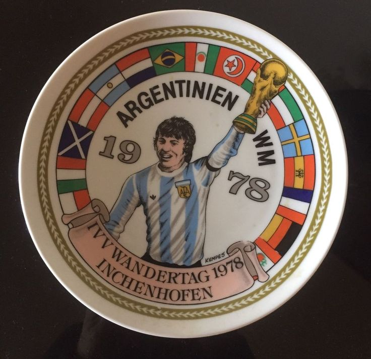 Argentina Soccer World Cup 1978 Decorative Plate w Flags & Kempes  | eBay