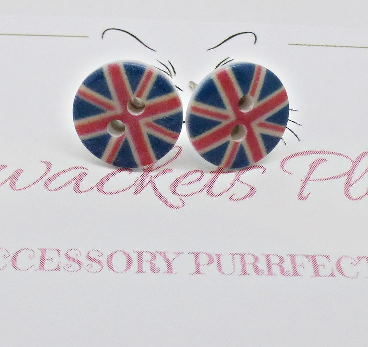 Union Jack Studs, Union Jack Earrings, Small Flag Earrings, Kitsch Retro, London Earrings, UK Earrings  - Fun and Funky by PyewacketsPlace on Etsy