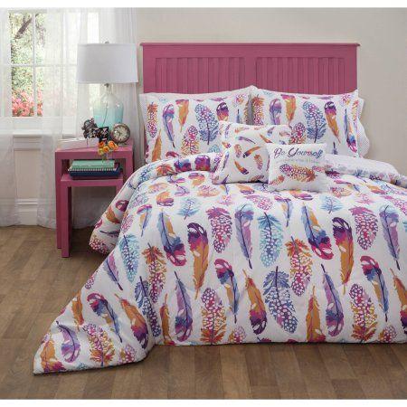 Formula Watercolor Feather Bed-in-a-Bag Bedding Set - Walmart.com