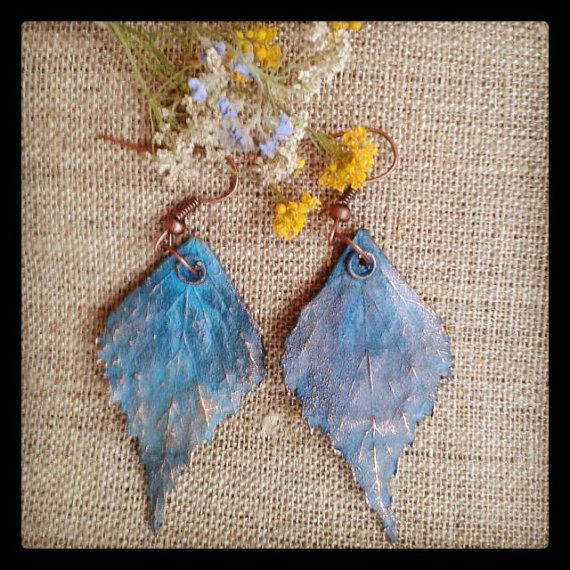 Birch leaves earrings. Electroplating. Sold out
