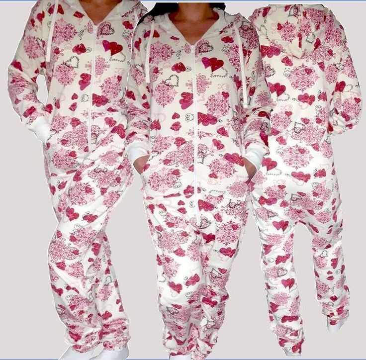 NEU Damen Onesie Overall Jumpsuit One Piece Jogginganzug Kapuze Herz Print Pink