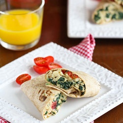 Scrambled Egg Wrap with Spinach, Tomato & Feta Cheese
