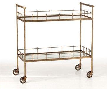 Arteriors Lisbon Vintage Bar Cart - Contemporary - Bar Carts - Zinc Door