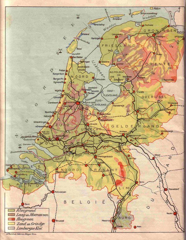 Vintage Maps Van Netherlands Map Vintage School