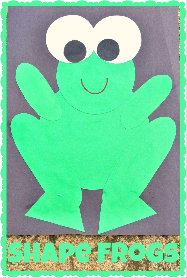 Shape Frogs craft for preschoolers  www.TheSeasonedMom.com