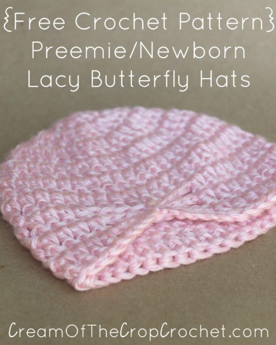 Preemie Newborn Lacy Butterfly Hat Crochet Pattern | Cream Of The Crop Crochet
