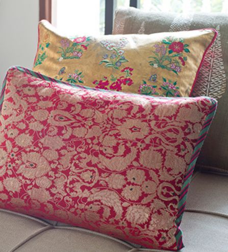 PERSIA GARDEN CUSHIONS Persia was the original home of the Charbagh or Paradise gardens and is the inspiration for these luxurious set of cushions. In various textures of gold combined with traditional silk brocade weaves & innovative techniques with full gold leafing background with hand embroidery. These cushions co-ordinate beautifully with each other but also offer dramatic style as stand alone pieces. Discover the cushion collection on our #WebBoutique . #InBloom